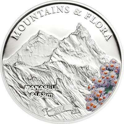 Palau 2014 5$ Mountains /& Flora CHO OYU HIMALAYA 20 g Proof Silver Coin