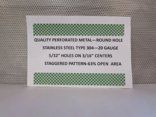 """20 GAUGE 304 STAINLESS PERFORATED SHEET--5//32/"""" HOLES ON 3//16/""""STAGGERED 16/"""" X 16/"""""""