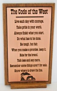 Details About Cowboy Code Sign Plaque Laser Engraved Hardwood Includes Stand Western Decor