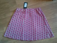 New Look Ladies Red and Fawn Pattered Stretch Skirt Size 10  BRAND NEW WITH TAGS