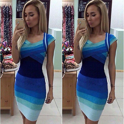 New S-XL Womens Bodycon Blue Bandage Dress Ladies Party Evening Short Mini Dress