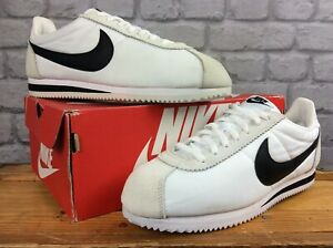 NIKE-MENS-UK-10-EUR-45-CLASSIC-CORTEZ-WHITE-BLACK-NYLON-SUEDE-TRAINERS-LD