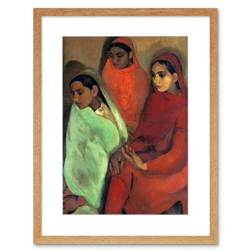 Pintura Sher-Gil grupo de tres niñas impresión arte enmarcado 12x16 pulgadas