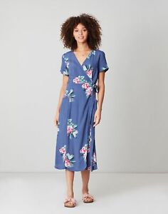 Joules Womens Callie Print Wrap Dress With Angled Pockets - Floral Blue - 6