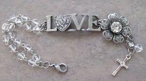 New-OOAK-Double-Tier-Crystal-Bead-LOVE-Charm-Christian-Cross-Religious-Bracelet