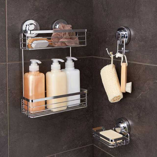 Naleon Ultimate Suction 2 Tier Shower Caddy Basket - Bathroom ...