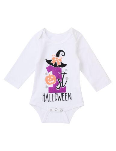 Baby Girl Halloween Romper Tutu Skirt Outfit Set Infant Pumpkin Jumpsuit Costume