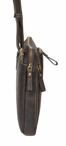 IPad Tablette PC en cuir véritable épaule Cross Body Organisateur Casual huile sac marron