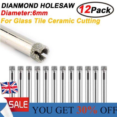 12pcs Diamond Cutter Hole Saw Drilling Bit Tool 6mm Set For Tile Ceramic Glass