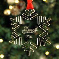 Personalised Name Snowflake Christmas Tree Decoration Keepsake Xmas Bauble Gift