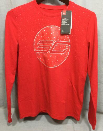 Under Armour Red SC30 HeatGear Holiday Lights Boys Long Sleeve Loose Shirt Large