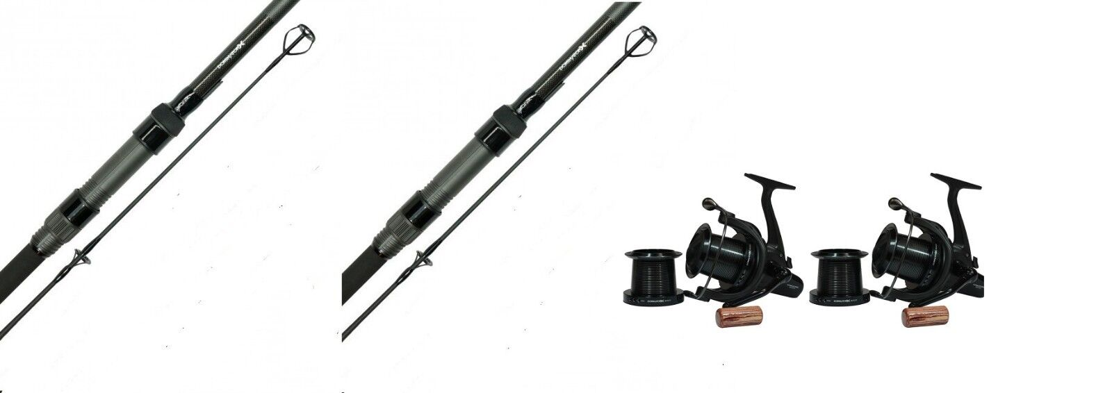 2 X Sonik Dominator X Carp Rods 12ft 3.25LB 50MM Butts + 2 X Dominator Reels