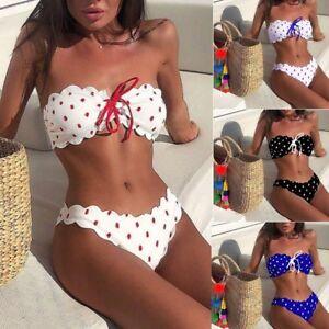 5102ae219a0 Details about Women Strapless Bikini Set Bandage Push-Up Bra Swimwear  Swimsuit Bathing Suit
