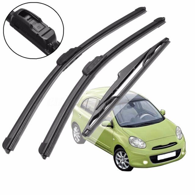 Front Rear Windscreen Window Wiper Blades For Nissan Micra MK3 Hatchback