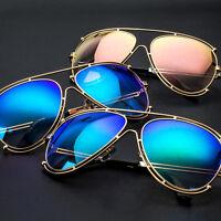 Designer Inspired Double Wire Large Aviator Sunglasses Metal Frame Women Mirror
