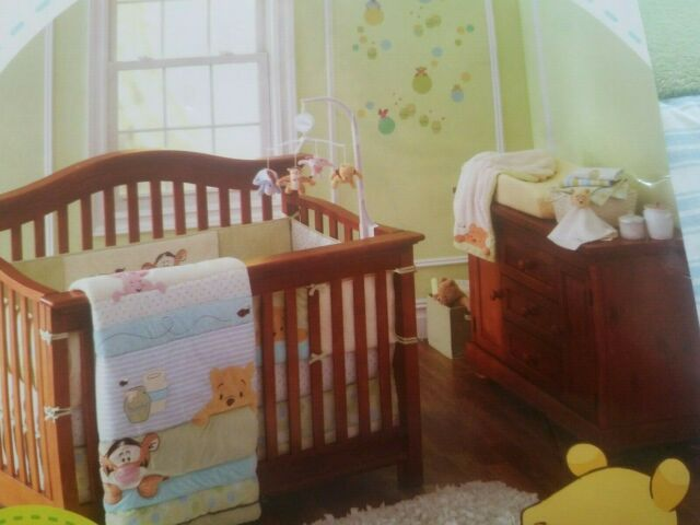 New Disney Winnie The Pooh Friends 3 Piece Baby Crib Bedding Set