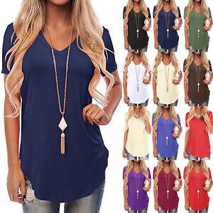 Damen-T-Shirt-Shirts-Top-Oberteil-Kurzarm-Bluse-Sommer-Freizeitshirt-Gr-34-44
