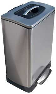 Details about Stainless Steel Garbage Step On Bin Kitchen Trash Can Manual  Waste Compactor