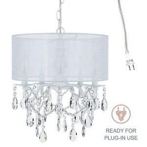 Details About 5 Light White Crystal Chandelier With Drum Shade Plug In Lighting Fixture Lamp