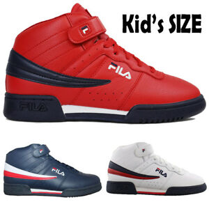 5153b402b5a5 Kids Fila F13 F-13 Classic Mid High Top Basketball Shoes NAVY RED ...