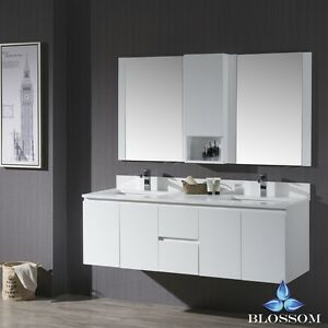 Blossom   Monaco Wall Mount Double Sink Bathroom Vanity In Matte
