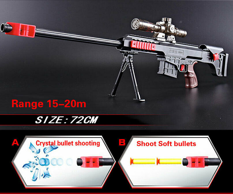 Water gel ball gun Soft bullets Toy Gun Barrett Sniper 72cm