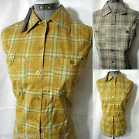 Plaid Atmosphere Shirt Top Women M L Yellow Or Gray Plaid Tank+pocket Blouse