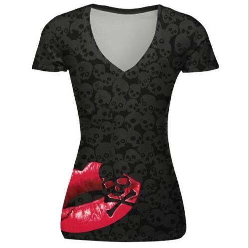 Woman T-shirt Skull /& Red Lips printed short sleeve V-Neck t-shirt S-XL T-Shirt