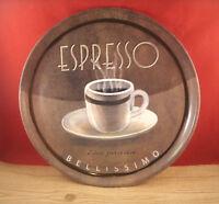 Coffee Espresso Bellismio Con Panna Plastic Serving Tray Plate Dish 13 1/2