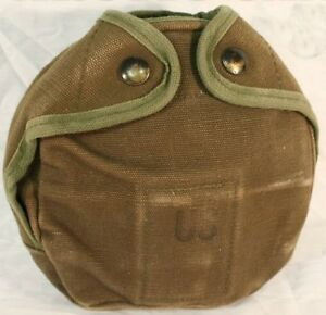 USGI MILITARY ARCTIC CANTEEN COVER CANVAS w/ KEEPERS VG
