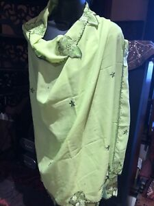 Vintage-Indian-Sari-Green-Sheer-Chiffon-Shawl-Scarf-Wrap