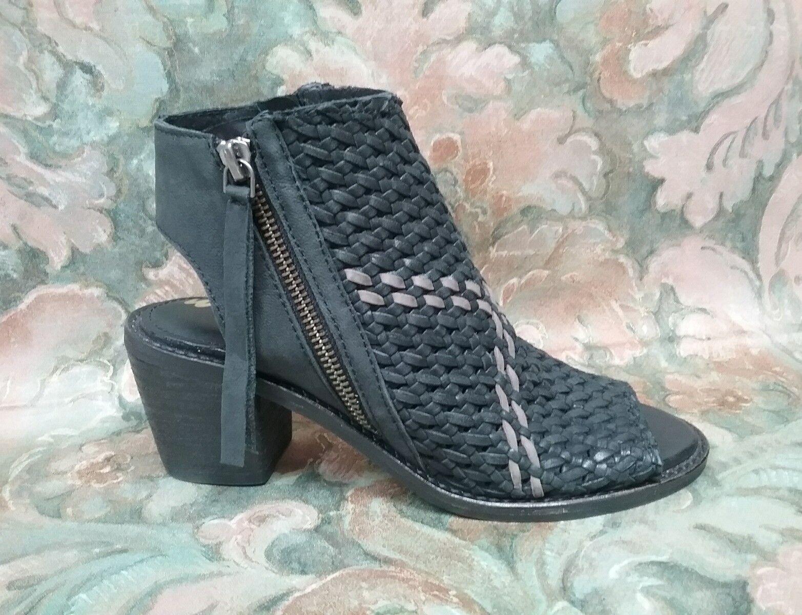 SAM EDELMAN - COOPER - Black Leather - Open Toe Sandals Heels - Size 7