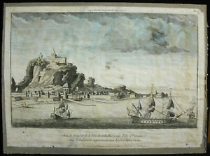 Engraving-18th-c1750-View-Gibraltar-Andalusia-Spain-English-Chez-Huquier
