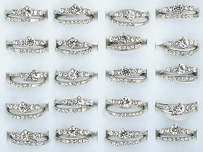 5Sets/10pcs Wholesale Wedding Engagement Ring Silver Plated White Crystal New