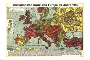HUMOROUS MAP OF EUROPE 1914 vintage german poster POLITICAL ... on