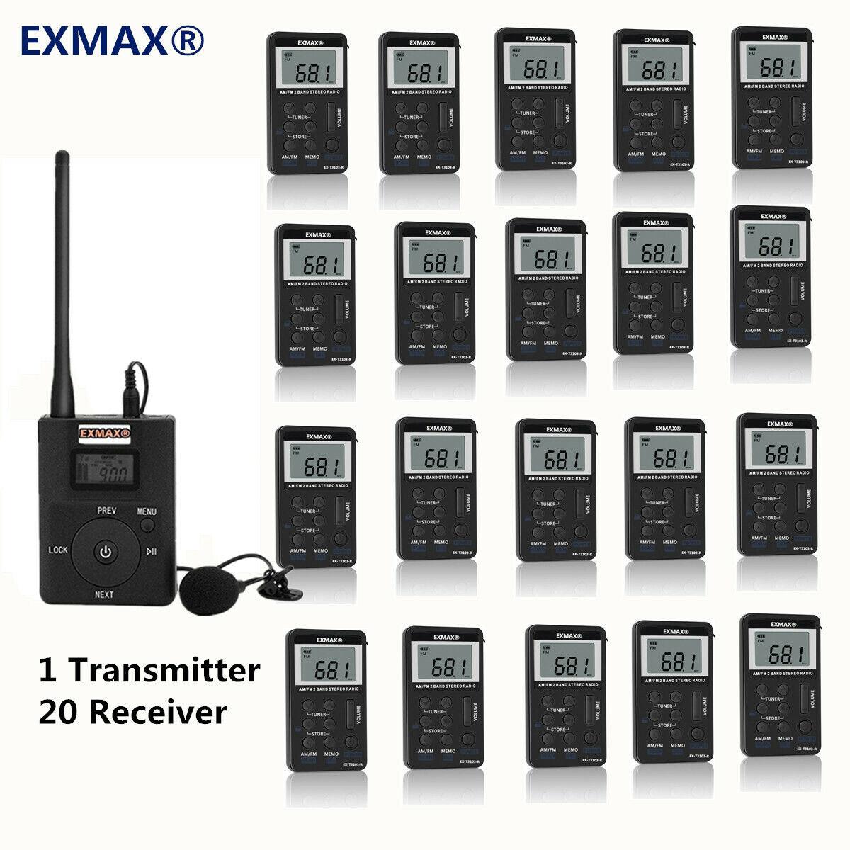 EXMAX Wireless Tour Guide Audio Mikrofon System 1 Transmitter 20 FM Receiver