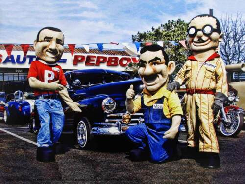 Pep Boys Automotive Sign with Collector Car Metal Sign