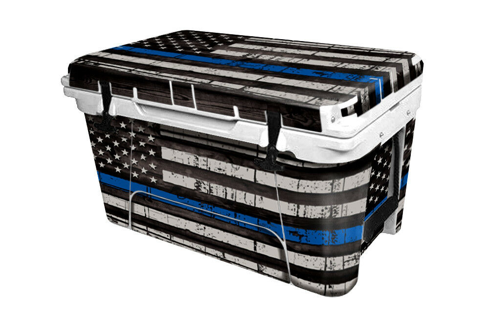 RTIC Wrap  Fits Old Mold  45qt Cooler 24mil Full Kit USA bluee Line Flag