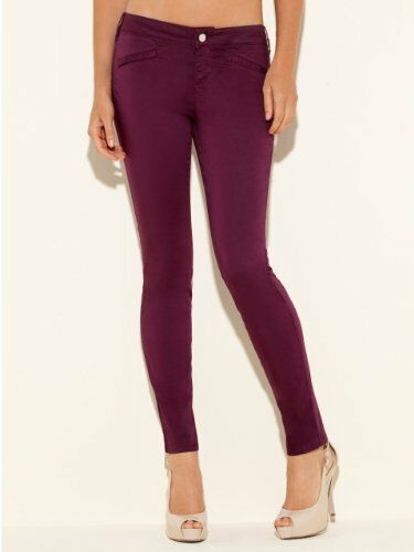 NWT Guess Moto Zip Skinny red wine Pants size 29