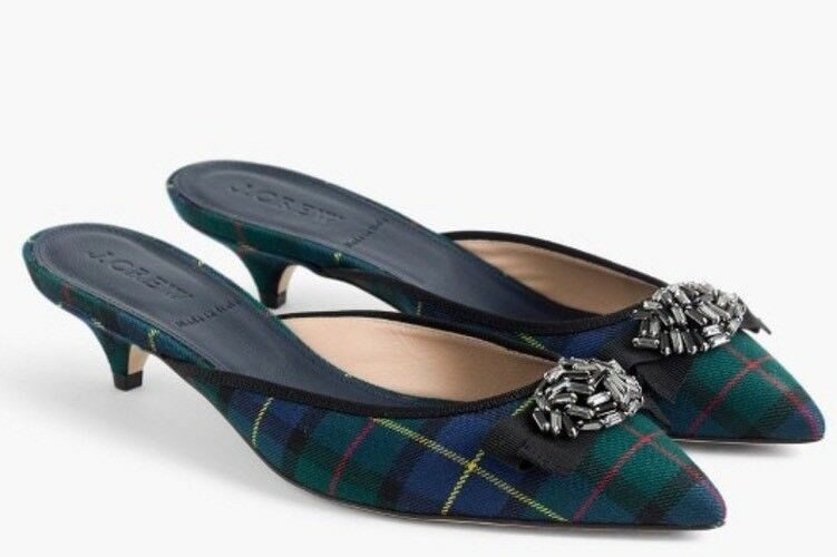 NWT JCREW  278 Plaid kitten mules Size8.5 Blue Green G8164