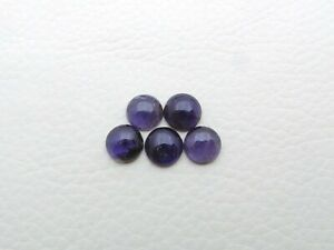 8 Pieces Natural Iolite Calibrated Size 8 mm Round Cabochon Wholesale Lot S298