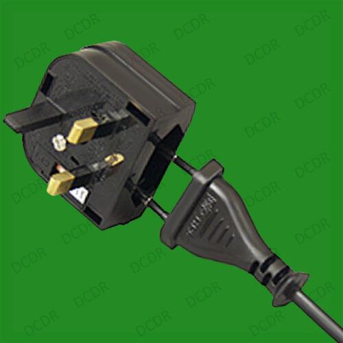 Black Push In 2 Pin Euro to UK 3 Pin Mains Fused Plug Converter Travel Adaptor
