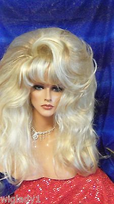Wigs Drag Queen Big Smooth Frosted Shown Long Layers Thick