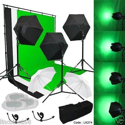 Photography Lighting Muslin Backdrop Stand Studio Light Kit New Linco