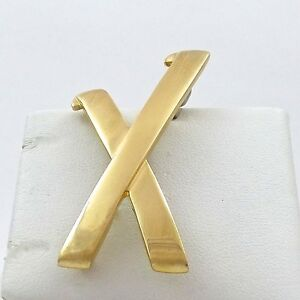 b4af636cd Vintage Tiffany & Co Paloma Picasso 18k Gold Large X Brooch Pin ...