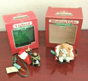 PAIR-2-OF-1980-039-S-HALLMARK-CARDS-LIGHTED-ORNAMENTS-NEW-OLD-STOCK-WORK
