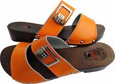 HOLZ (e) CLOGS  Holz Pantolette Gr.37 Orange Leder (PL.25,0.03.11)