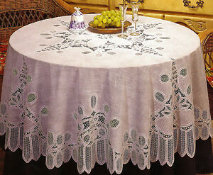 Image Is Loading NEW WHITE IVORY CROCHET LACE VINYL TABLECLOTH 60