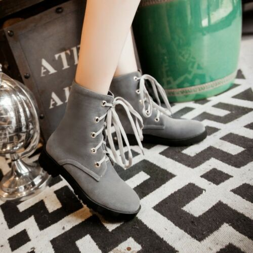 Women Faux Suede Low Block Heels Ankle Combat Boots Toe Shoes