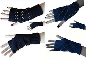 Mitaines-Grises-ou-Bleues-Jean-avec-strass-amp-motifs-Gant-Fingerless-Gloves-sexy